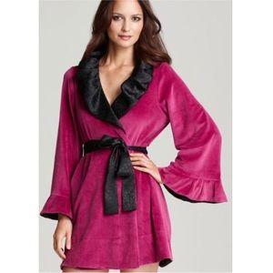 Betsy Johnson Velour Robe Pink Black Size Small